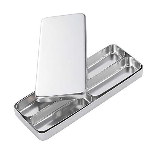 Dental Nadeln (HEALLILY 4 Fächer Dental Nadel Desinfektionsbox Aluminium Sterilisationsbox Steribox (Silber))