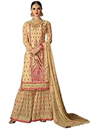Shoppingover Women's Georgette Embroidered Semi-stitched Salwar kameez (2004ADP, Beige, Free Size)