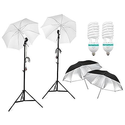 BPS Photo Studio Kit éclairage continu parapluie, 2 x 125W ampoule lumière du jour, 2 x parapluie translucide et 2 x parapluie réflecteur ( Noir / Argent ) , 2 x trépieds de lampe, pour le studio et Tournage Vidéo