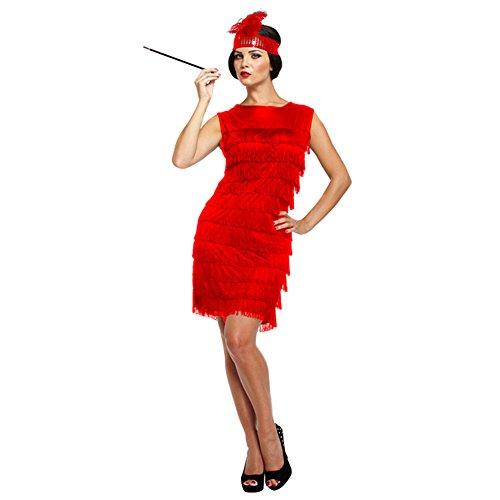 Costume Fancy Dress Flapper Girl Anni 30 Con Fiocchi (Rosso)