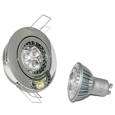 6er Set LED Einbaustrahler Max Farbe Chrom GU10 3er Power LED 5W Weiß 230V