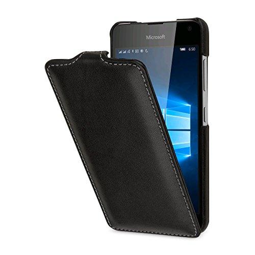 StilGut UltraSlim Case, Hülle aus Leder für Microsoft Lumia 650/650 Dual SIM, Schwarz Nappa