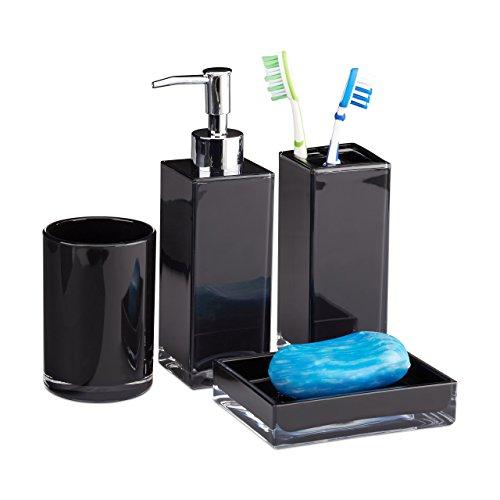 Pack de jabón de diseño en elegante color negro, acabado en plástico marca Relaxdays