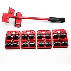Lot de 5 outils de déménagement pour meubles lourds avec système de déménagement et de levage (couleur : rouge), 73JohnPol-5