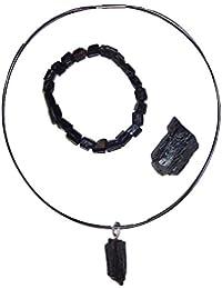 Turmalin schwarz Schörl Schmuck Set 4-teilig Natur Stücke: 1x Armband, 1x Anhänger, 1 x Rohstück, 1 Halsreif Größe 42 und 45 cm (42 cm)
