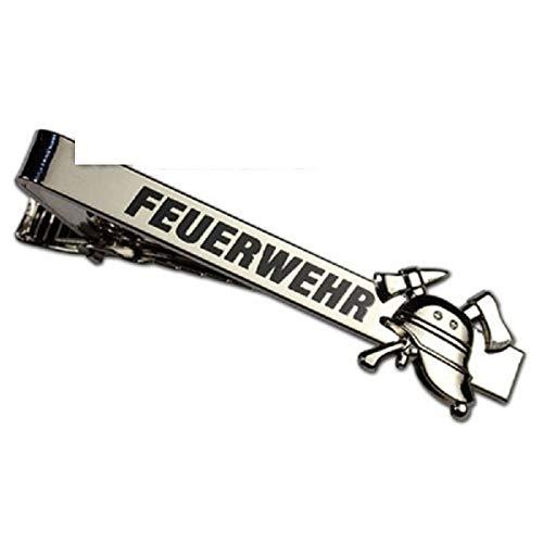 """Krawattenklammer 57x6mm - Feuerwehr""""Helm & Hake"""" mit Schriftzug - mit Krokodilverschluss - versilbert"""