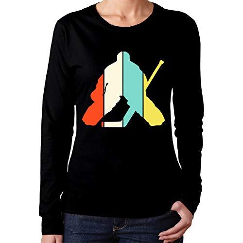 Johnson hop Vintage Hockey Goalie Damen Damen Langarm T Sport T Shirt Casual(L,Schwarz) -