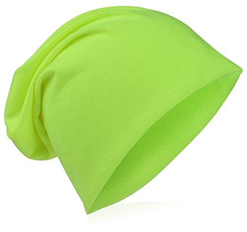 Beanie-Unifarbe-Neon-Gelb