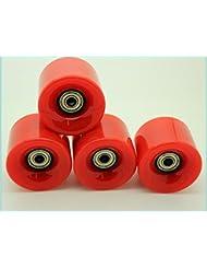 4x marca nueva 59mm/78a Retro Cruiser Penny ruedas de monopatín con rodamientos (Fits, níquel, globo), rojo