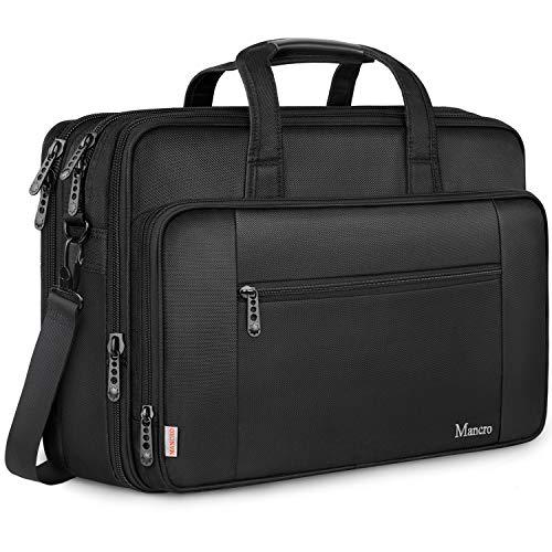Mancro 17 Zoll Laptop Tasche, Groß Business Aktentasche Wasserabweisend Computer Tasche Umhängetasche Erweiterbar Schultertasche für Schule,Reisen,Frauen,Männer-Schwarz, MEHRWEG