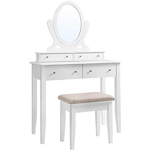 SONGMICS Coiffeuse Moderne Table de Maquillage avec Miroir, Tabouret et 4 Tiroirs, en bois MDF, pour Chambre, Dressing, Blanche RDT22WT