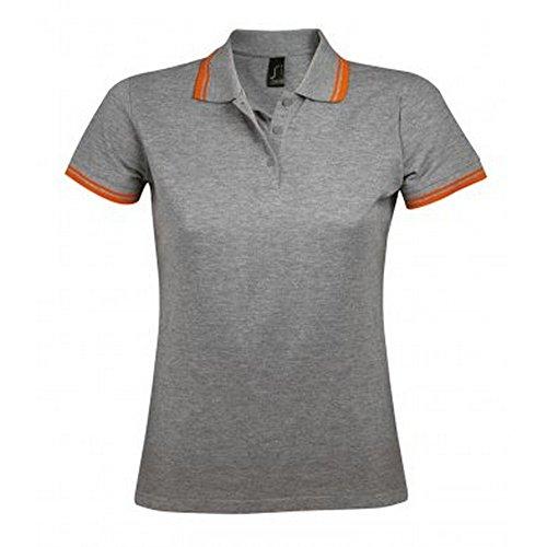 SOLS Pasadena - Polo à manches courtes - Femme Gris marne/Orange
