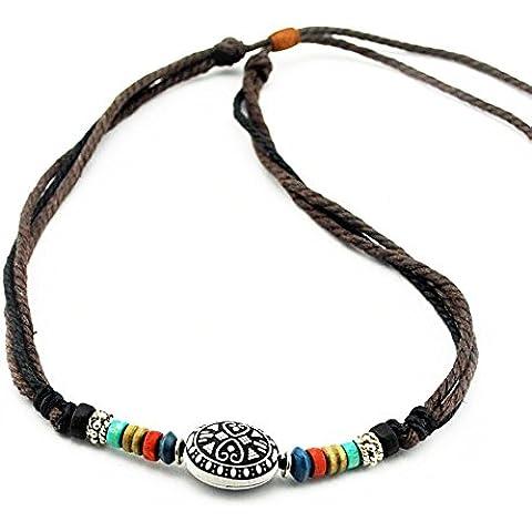 Real Spark estilo retro cuerda de algodón cuello Colorful Beads Colgante Religioso Cadena Collar