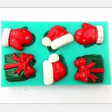 HuaJing natale guanti regalo cappello fondente strumenti di decorazione della torta del silicone torta al cioccolato della muffa, l11.2cm * w7cm * h1cm