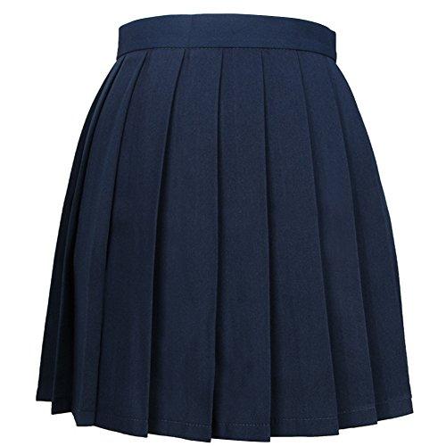 Butterme Frauen beiläufige hoch taillierte gefaltete Cosplay Kostüme Röcke Schule A-Line Mini Uniform Kleid (Kleid Navy Uniform)