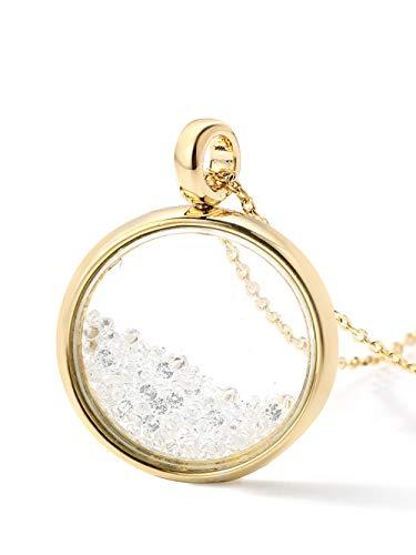 Hi Young gelb gold vergoldet rund Glas Medaillon Anhänger mit Floating kleinen klaren Kristallsteinen auf, Länge Halskette 41cm + 3,5cm Verlängerung