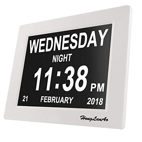 Orologio da tavolo con calendario | Aggiornamento Honglanao 8' Extra Large Non abbreviato-Day & Mese, Orologio Digitale Avanzato Per i Malati di Alzheimer - 8 lingue selezionabili (Bianco)