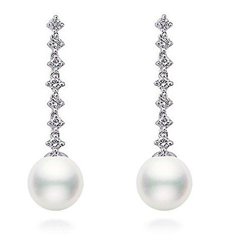 14K Weiß Gold AAA Qualität Akoya Zuchtperle Diamant Baumeln Ohrringe