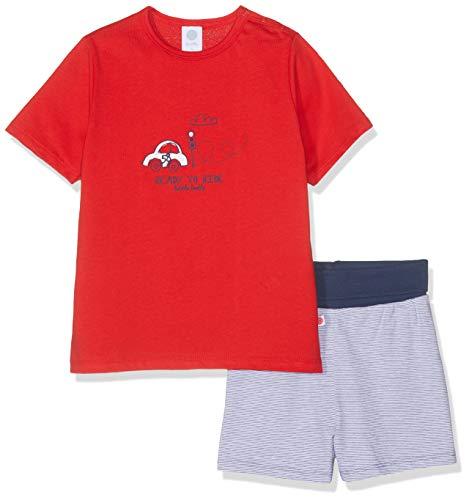 Sanetta Baby-Jungen Pyjama Short Bekleidungsset, Rot (Rouge 3480), 104 -