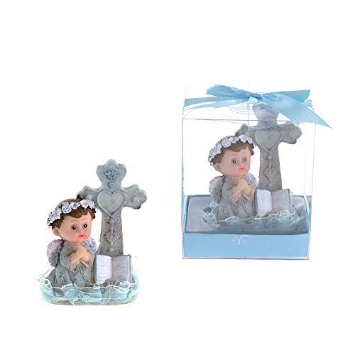 lunaura-religious-keepsake-set-of-12-boy-baby-angel-praying-next-to-cross-favors-blue-by-lunaura