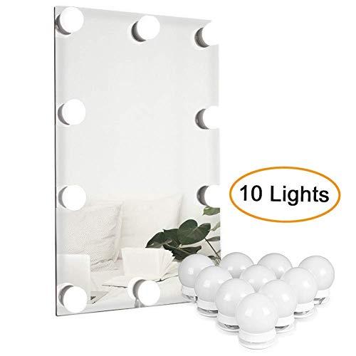 Waneway Hollywood LED Spiegelleuchte, Schminktisch Beleuchtung, Schminklicht für Spiegel, Lampe mit Dimm-Funktion, Spiegel Nicht Inbegriffen, 10 LED-Lampen