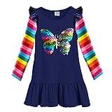 VIKITA Mädchen Kleider Sommer Baumwolle Kinder Kleid EINWEG LH5880 7T