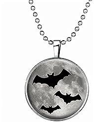 HIJONES Niños de Halloween Joyería Luminoso Vampire Colgante Collar Murciélagos