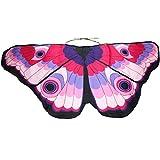 WOZOW Damen Schmetterling Flügel Kostüm Nymphe Pixie Umhang Faschingkostüme Schals Poncho Kostümzubehör Zubehör (Rosa)