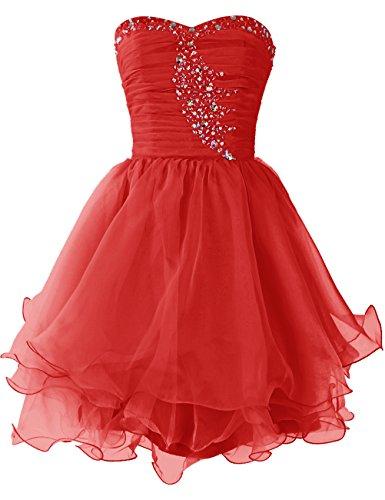 Dresstells Damen Kurz Brautjungfernkleider Organza Party Kleider Rot
