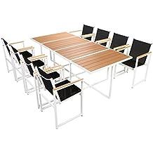Festnight 9 Pcs Salon De Jardin Aluminium WPC Mobilier Dextrieur 1 Table 8