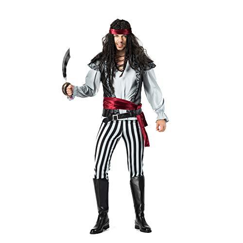 Rogue Pirate Kostüm - HOOLAZA Herrenpiraten der Karibik Kostüm Rogue Pirate 6-teiliges Kostüm-Set