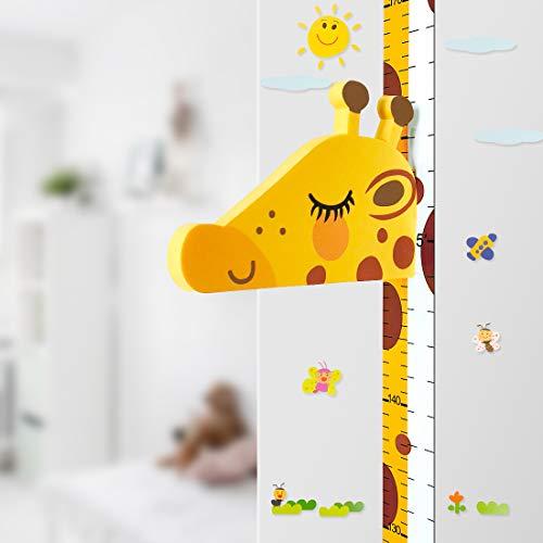 Baby Messlatte Höhe Diagramm für Kinderziemmer Dekoration, 3D beweglicher Giraffenkopf Höhenmesser Kindergarten Tier Wandabziehbild VON DUOUPA -