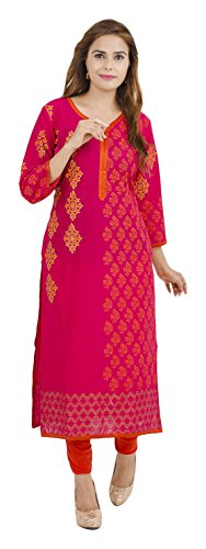 c51632172 Zoeyams Women s Pink Cotton Block Prints Long Straight kurti