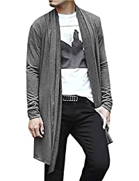 Sourcingmap Allegra K Men Shawl Collar Pockets Long Sleeve Casual Long Cardigan Gray L
