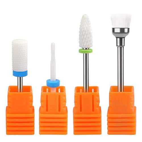 Timesetl punte in ceramica per fresa per unghie professionale con pennellino di pulizia – 4 in 1 - ideali per manicure/rimozione gel/semipermanente/ acrilico/nail art/funghi delle unghie 2.35mm