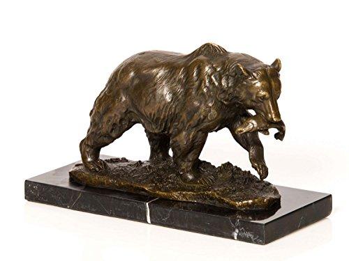 Bronze Bar (aubaho Bronzeskulptur Grizzly Bär Fisch Bronze Bronzefigur Skulptur Antik-Stil)