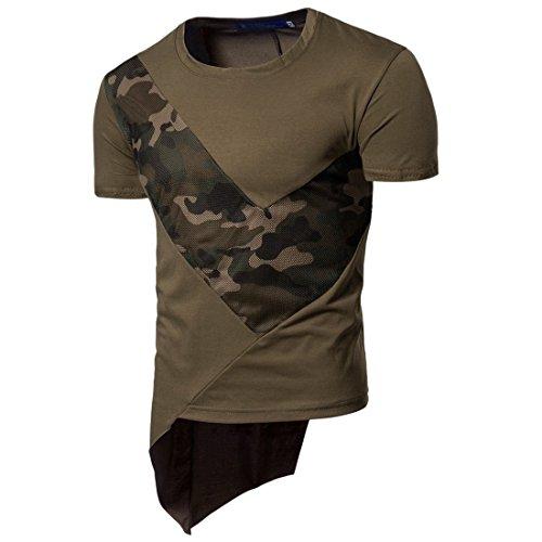 Herren Casual Slim Fit Kurzarm O Hals T-Shirts Unregelmäßigkeit Patchwork Bottom T-Shirts (Polo Herren Chaps)