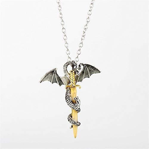 Uteruik - Collar con Colgante Luminoso de Espada de dragón Que Brilla en la Oscuridad, joyería Punk para Hombre