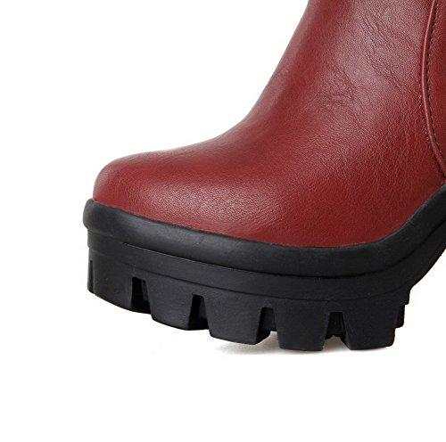 VogueZone009 Damen Pu Leder Niedrig-Spitze Reißverschluss Rein Hoher Absatz Stiefel Rot