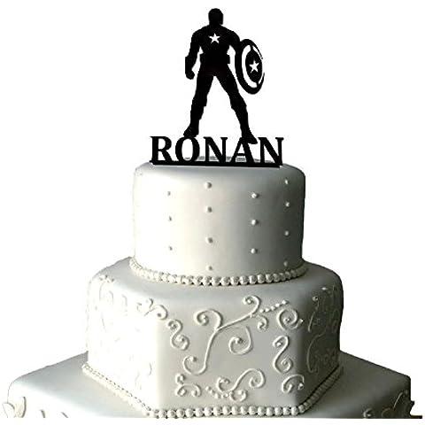Personalizado Capitán América Decoración para tarta para cumpleaños | Capitán América Decoración para tarta para | personalizado Marvel Capitán América acrílico decoración para tarta para Light Grey