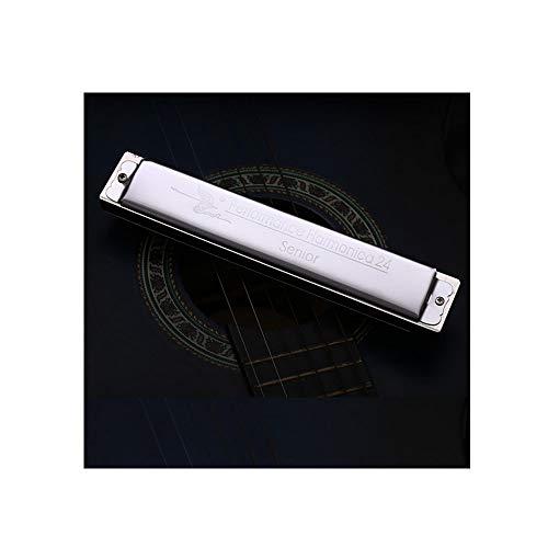 YINXINHUI Mundharmonika, 24-Loch Polyphone Profi-Mundharmonika, C-angepasste Lehrschüler Erwachsene Anfänger Universal Style (Silber, Geschenke; Sterile Baumwolle + Reibetuch) -