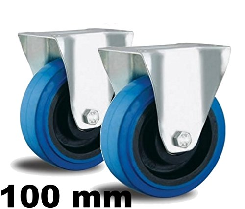 2 Bockrollen 100mm Blue Wheel mit Rollen-Lager Nylon Felge Apparate-rollen blau