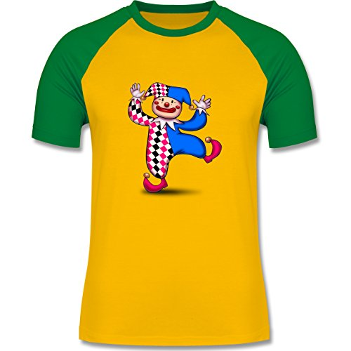 Karneval & Fasching - Tanzender Clown - zweifarbiges Baseballshirt für Männer Gelb/Grün
