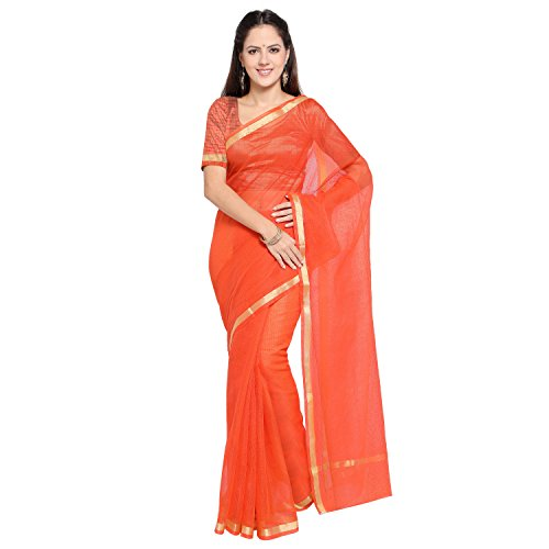 Rajnandini Women's Pure Cotton Plain Saree(JOPLSRS1057H_Orange_Free Size)