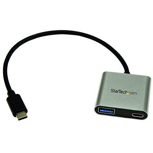 2 Port USB-C Hub mit Stromversorgung - USB C zu USB A und USB Typ-C - USB 3.0 Hub - USB Port Expander - USB Multiport Hub - Port Expander
