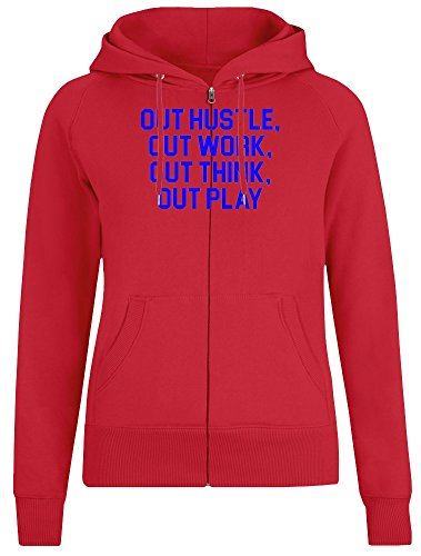 Out Hustle, Out Work, Out Think, Out Play Zipper Hoodie for Women - 100% Soft Cotton - High Quality DTG Printing - Custom Printed Womens Clothing