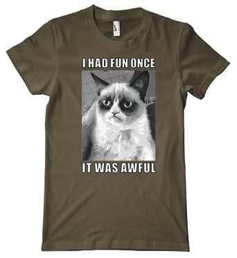 Cat Series - Grumpy Cat Meme Premium T-Shirt, Army, Small