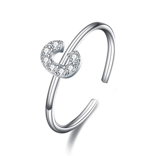 Clearine Damen Ring 925 Sterling Silber Zirkon verstellbare Premium Buchstaben C Alphabet Ring in Silber-Ton
