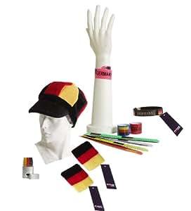 11-teiliges BRUBAKER Fußball Fanpaket Deutschland mit Kopfbedeckung, Schminke und Flexi Leucht-Armbändern