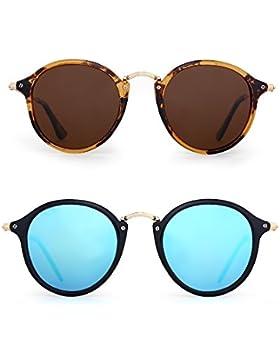 3613d61695 Gafas de Sol Polarizadas Retro Redondas Lentes de Espejo Pequeño Circulo  Tintado Hombre Mujer